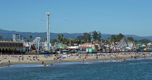 Santa Photograph - Santa Cruz Boardwalk And Beach - California by Brendan Reals