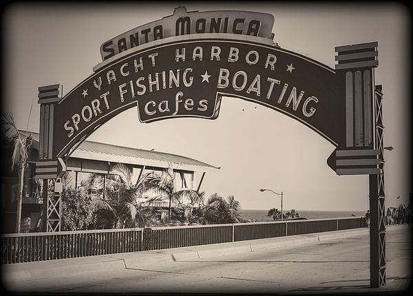 Amusement Photograph - Santa Monica Sign Series Modern Vintage by Ricky Barnard