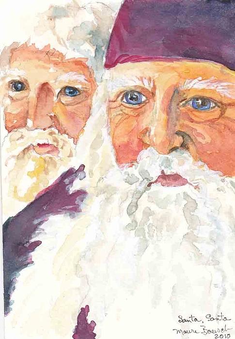 Santa Painting - Santa Santa by P Maure Bausch