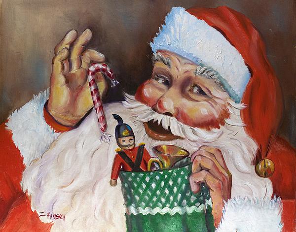 Santa Painting - Santa With Stocking by Sheila Kinsey