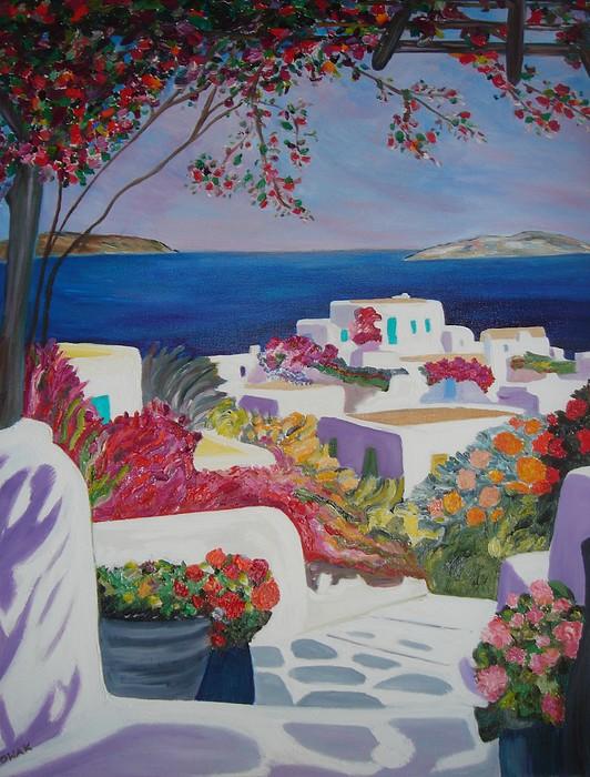Greece Painting - Santorini by Dorota Nowak