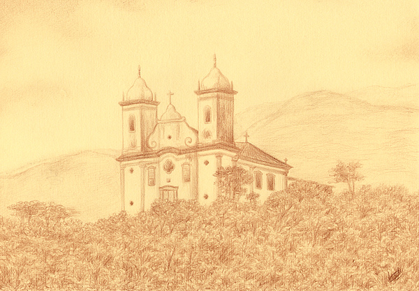 Church Drawing - Sao Francisco De Paula Church by Enaile D Siffert