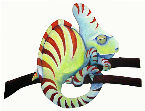 Chameleon Painting - Sassy Chameleon by Susan Clausen