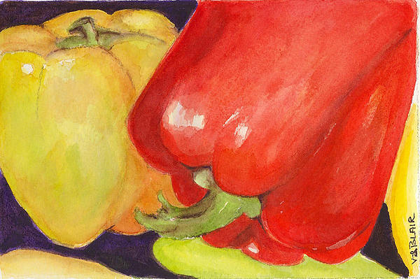 Peppers Painting - Saucey Peppers by Vickie Blair