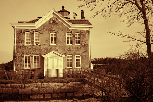 Lighthouse Photograph - Saugerties Lighthouse Sepia by Nancy De Flon
