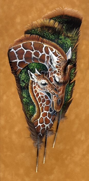 Giraffe Painting - Savannah Tenderness by Sandra SanTara