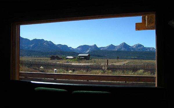 Mountains Photograph - Sawtooth Mountains From Cafe Window by Sherry Oliver
