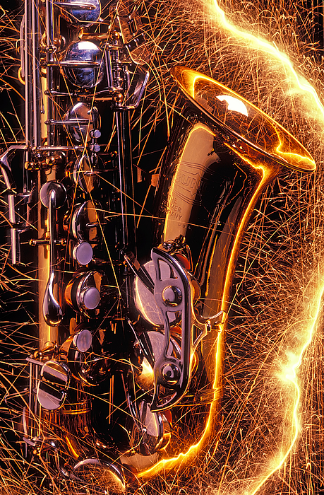 Saxophone Photograph - Sax With Sparks by Garry Gay