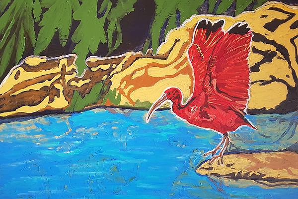 Scarlet Ibis Painting - Scarlet Ibis by Rachel Natalie Rawlins