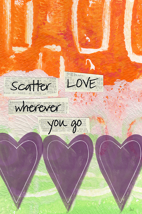 Abstract Mixed Media - Scatter Love by Linda Woods