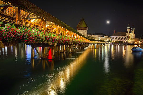 Bridge Photograph - Scenic Night View Of The Chapel Bridge In Old Town Lucerne by George Oze