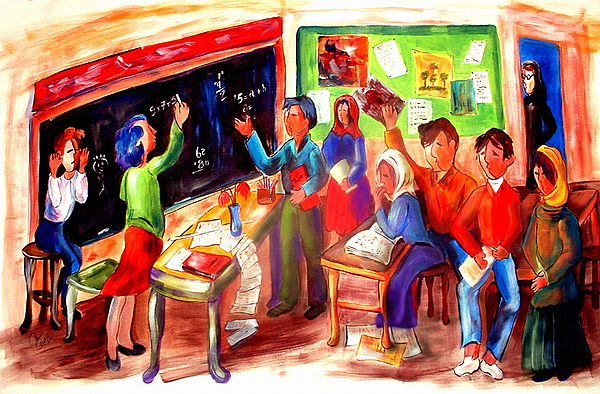 Children Painting - School Days In Morocco by Patricia Rachidi
