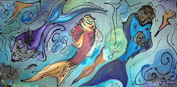 Fish Painting - Schools Out Sold by Amanda  Sanford