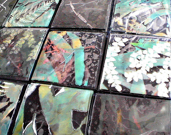 Logging Glass Art - Screen Printed Glass Tiles by Sarah King