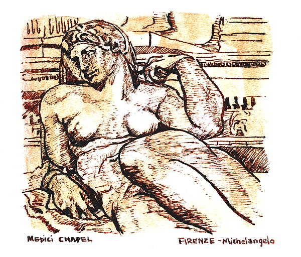 Sketch Drawing - Sculpture At The Medici Chapel by Dan Earle