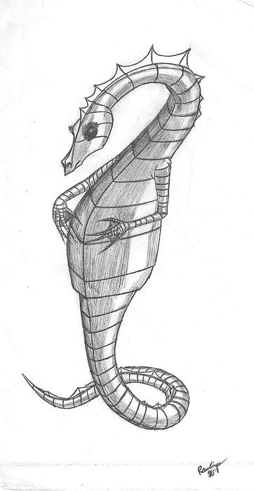 Mythos Drawing - Sea Dragon by Theresa Rawlings