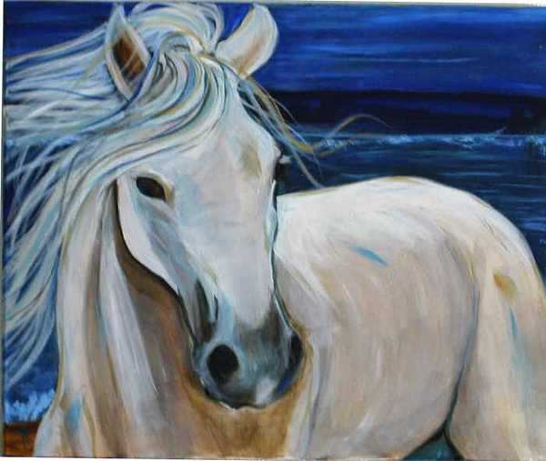 White Horse Painting - Sea Foam by Ana M  Berry