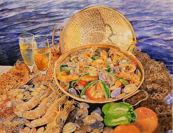 Watercolor Painting - Sea-food by Ciocan Tudor-cosmin