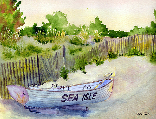Seascape Painting - Sea Isle Rescue Boat by Paul Temple