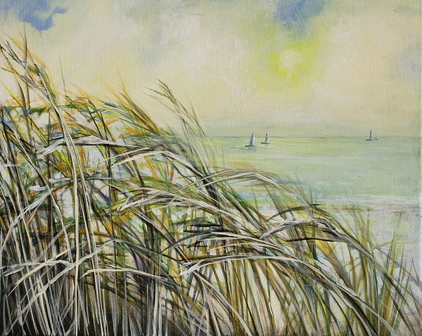 Sea Oats Painting - Sea Oats Sailboats by Michele Hollister - for Nancy Asbell