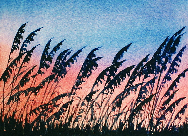 Sea Oats Painting - Sea Oats Silouette by Suzanne Krueger