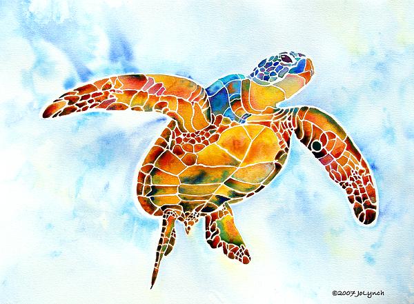 Sea Turtle Painting - Sea Turtle Gentle Giant by Jo Lynch