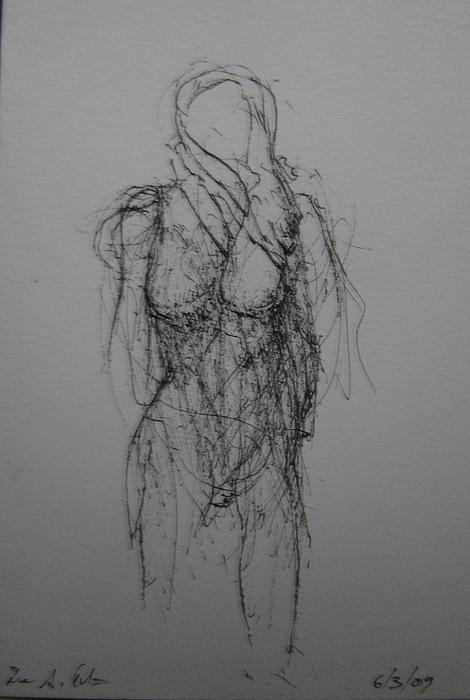 Female Nude Drawing - Sea Wiind by Dean Corbin