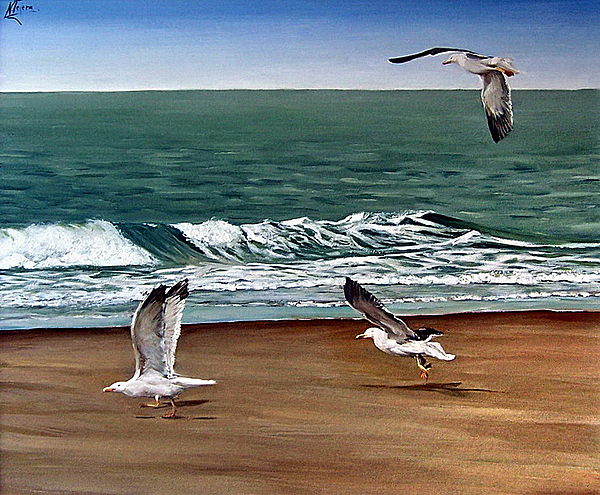 Seascape Painting - Seagulls 2 by Natalia Tejera