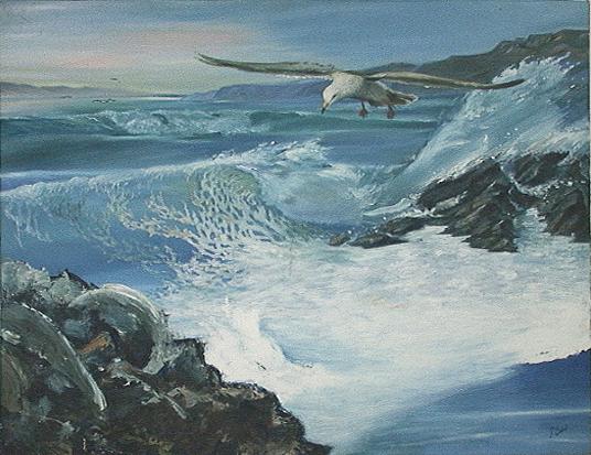 Seascape Painting - Seascape by Giora Eshkol