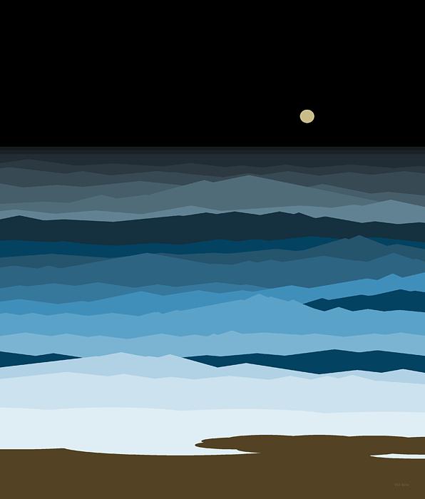 Ocean Digital Art - Seascape - Night by Val Arie