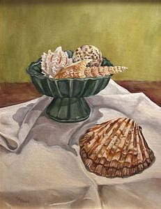 Coastal Painting - Seashells And Shadows by Cheryl Pass