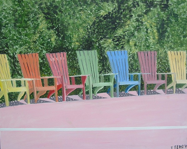 Seascape Painting - Seaside Chairs by John Terry