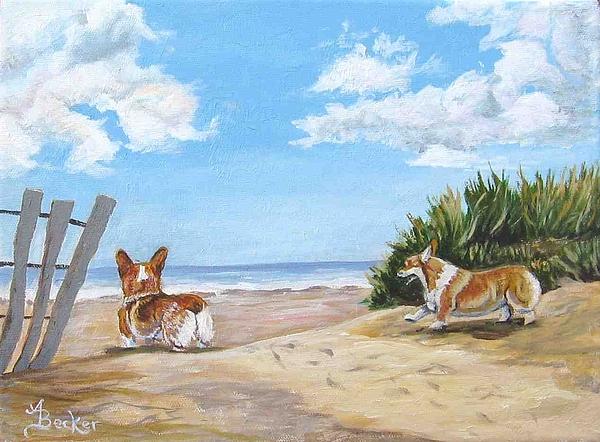Dog Painting - Seaside Romp by Ann Becker