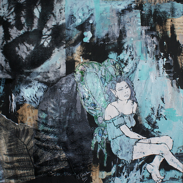 Fairy Mixed Media - Seated Fairy With Hand 2 by Joanne Claxton