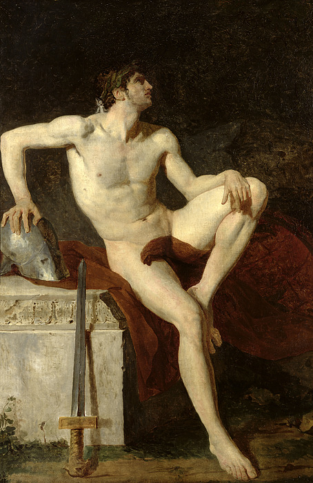 Seated Painting - Seated Gladiator by Jean Germain Drouais