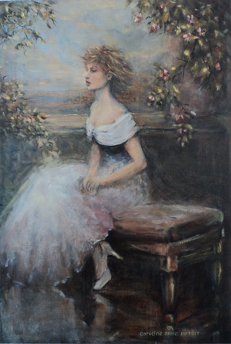 Lady Painting - Seated Lady And Flowers by Caroline Anne Du Toit