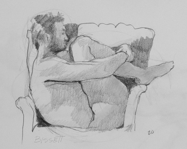 Life Drawing - Seated Nude 1 by Robert Bissett