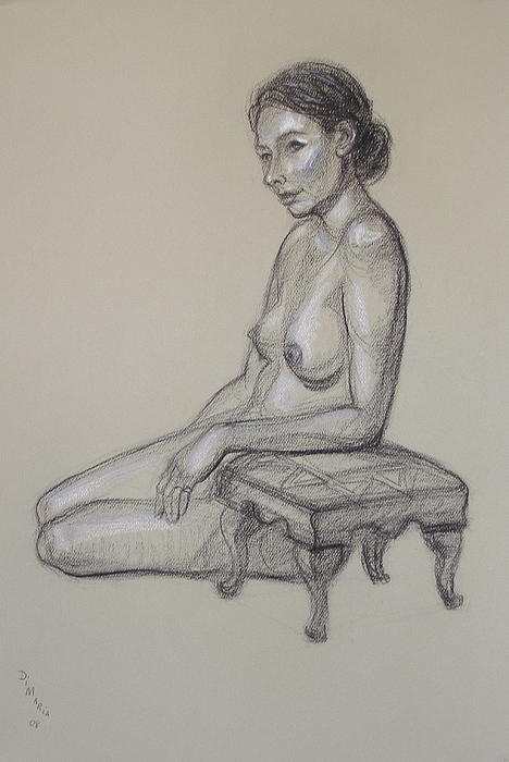 Realism Drawing - Seated Nude 3 by Donelli  DiMaria