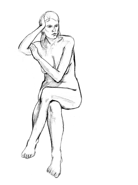 Drawing Drawing - Seated Nude Woman by Adam Long