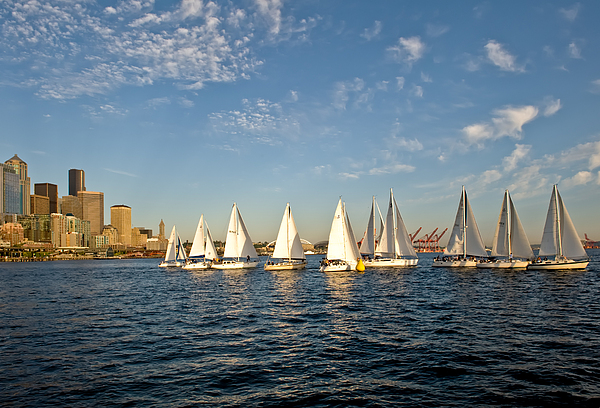 Seattle Photograph - Seattle Sailboat Race by Tom Dowd