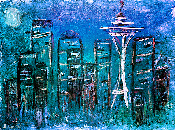 Seattle Mixed Media - Seattle Skyline 2 by Melisa Meyers