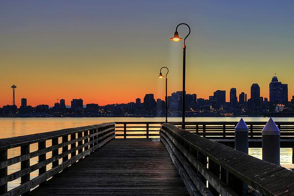 Horizontal Photograph - Seattle Skyline From The Alki Beach Seacrest Park by David Gn Photography