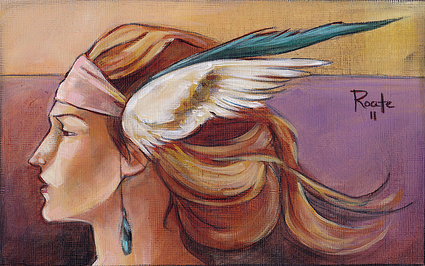 Headdress Painting - Secondary Wings Left by Jacque Hudson
