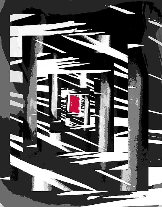 Black And White Digital Art - Secret Red Door by Gerlinde Keating - Galleria GK Keating Associates Inc