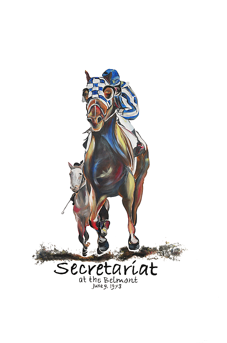 Secretariat Painting - Secretariat At The Belmont Mural by Amanda  Sanford