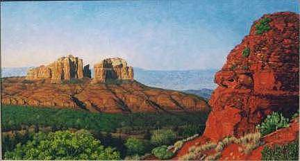 Desert Mountains Painting - Sedona Red by Bassel Wolfe