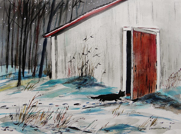 Cat Painting - Seeking Shelter by John Williams