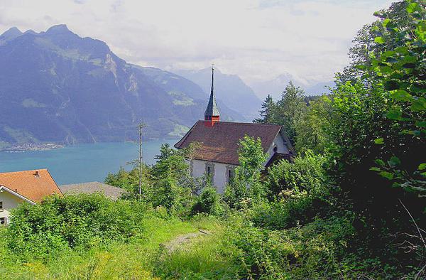 Landscape Pyrography - Seelisburg Switzerland by Monica Engeler
