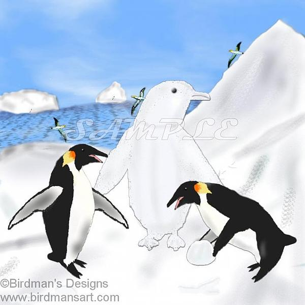 Emperor Penguin Painting - Self Expression by Mike Sexton