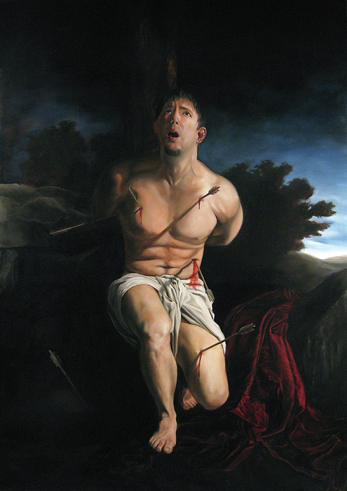 Saint Sebastain Painting - Self Portrait As St. Sebastian by Eric  Armusik